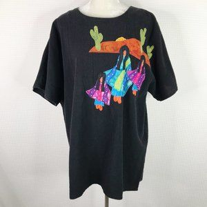 Alfredos Wife Top 1X Black Embroidered Desert